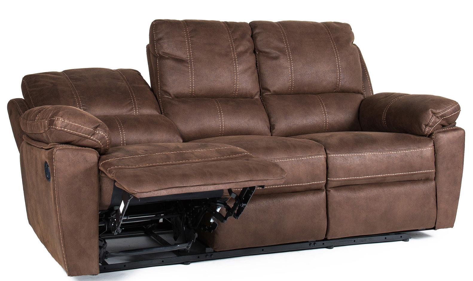 canap de relaxation 3 places manuel cuir marron avec surpiq re duck. Black Bedroom Furniture Sets. Home Design Ideas