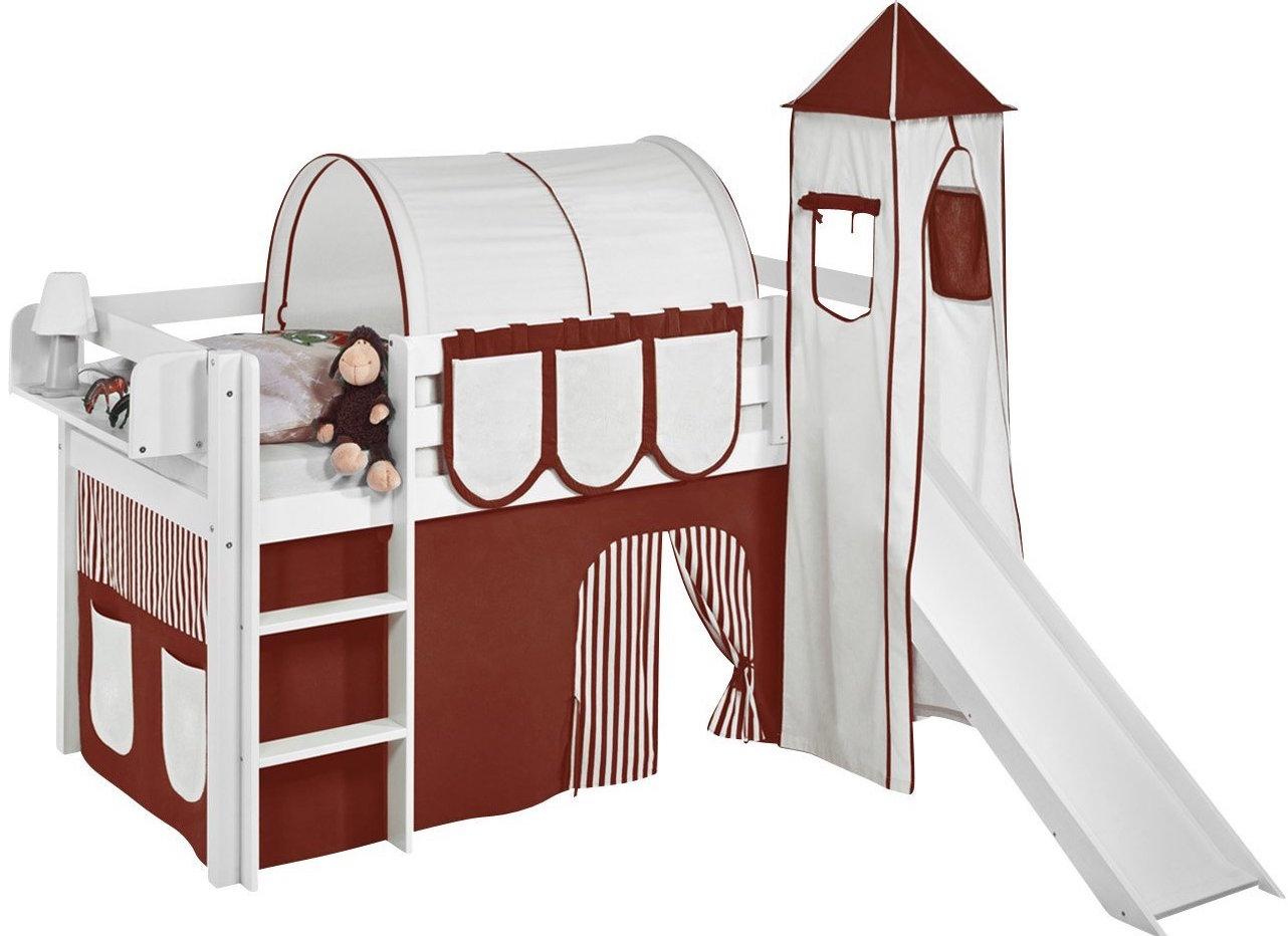 lit sur lev blanc laqu toboggan rideau et tour marron. Black Bedroom Furniture Sets. Home Design Ideas