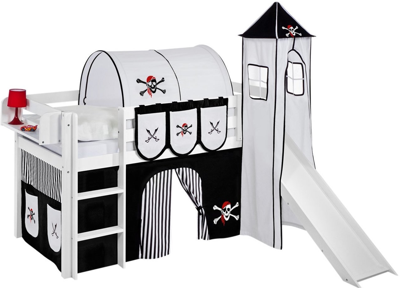 lit sur lev blanc laqu toboggan rideau et tour pirate noir sommier sans sommier sans. Black Bedroom Furniture Sets. Home Design Ideas