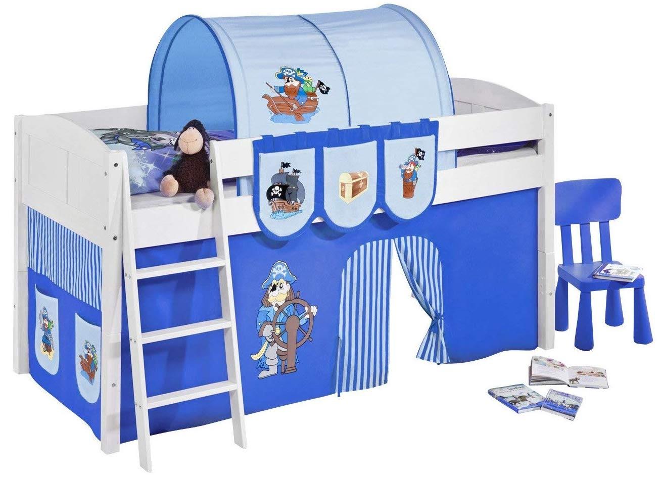 lit sur lev blanc rideau bleu pirate 90x200cm sommier sans sommier sans matelas tunnel sans. Black Bedroom Furniture Sets. Home Design Ideas