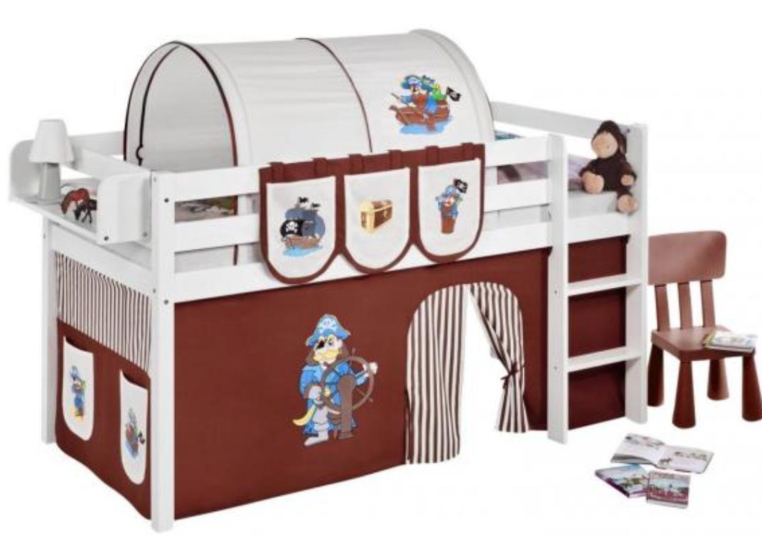 lit sur lev blanc laqu rideau pirate marron 90x190cm sommier sans sommier sans matelas. Black Bedroom Furniture Sets. Home Design Ideas