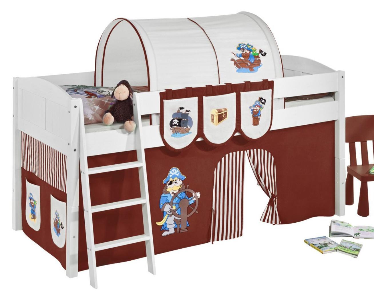 lit sur lev blanc laqu rideau pirate marron 90x200cm sommier sans sommier sans matelas. Black Bedroom Furniture Sets. Home Design Ideas
