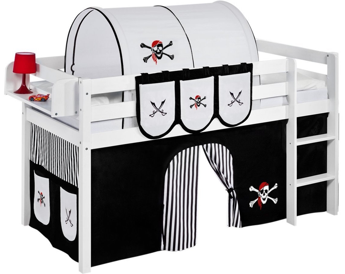 lit sur lev blanc laqu rideau pirate noir 90x190cm sommier sans sommier sans matelas tunnel. Black Bedroom Furniture Sets. Home Design Ideas