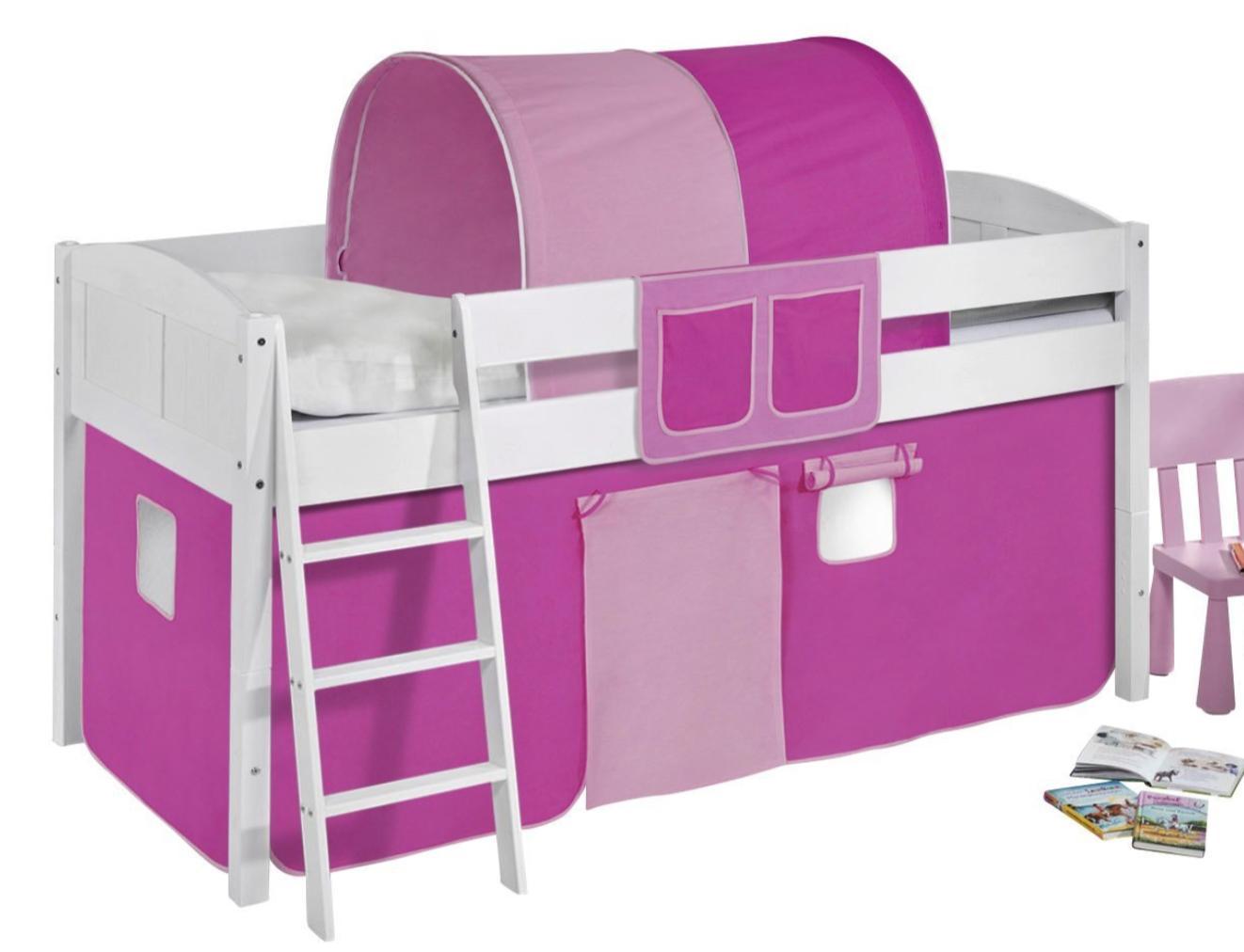 lit sur lev blanc laqu rideau rose clair et rose fonc 90x200cm sommier sans sommier sans. Black Bedroom Furniture Sets. Home Design Ideas