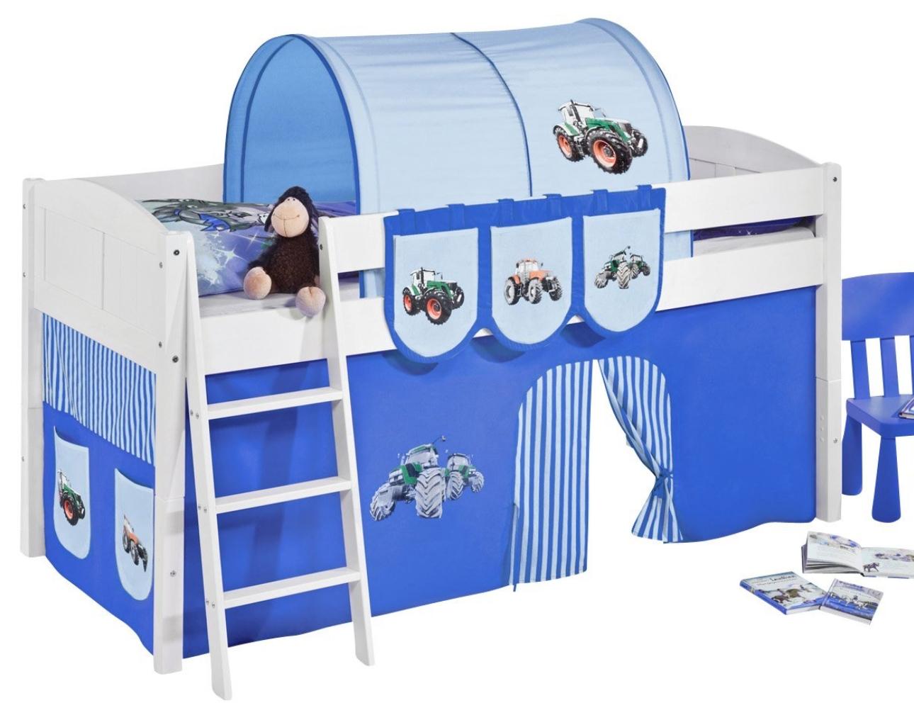 lit sur lev blanc laqu rideau tracteur bleu ida 4106 sommier sans sommier sans matelas. Black Bedroom Furniture Sets. Home Design Ideas
