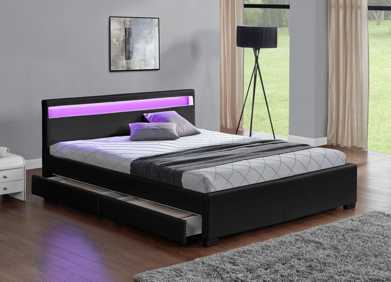 Lit à led avec 4 tiroirs simili cuir noir 160x200 cm Diana   LesTendances.fr