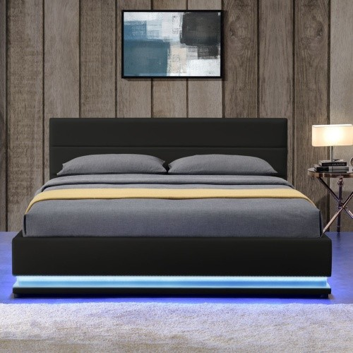 lit led avec coffre de rangement simili noir dina 160. Black Bedroom Furniture Sets. Home Design Ideas