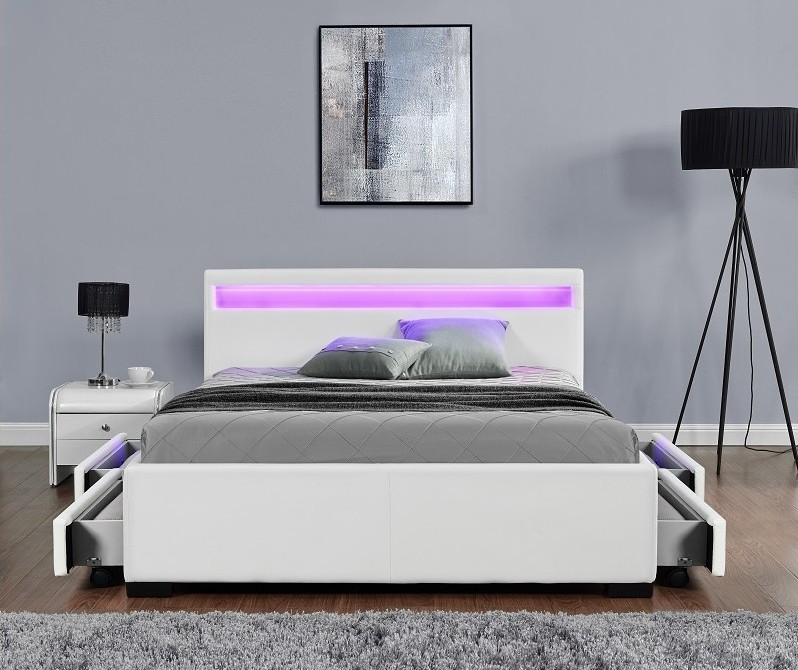 lit led avec tiroirs simili cuir blanc mat diana 160. Black Bedroom Furniture Sets. Home Design Ideas