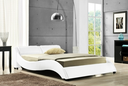 Lit blanc contemporain eve 160 cm for Lit contemporain