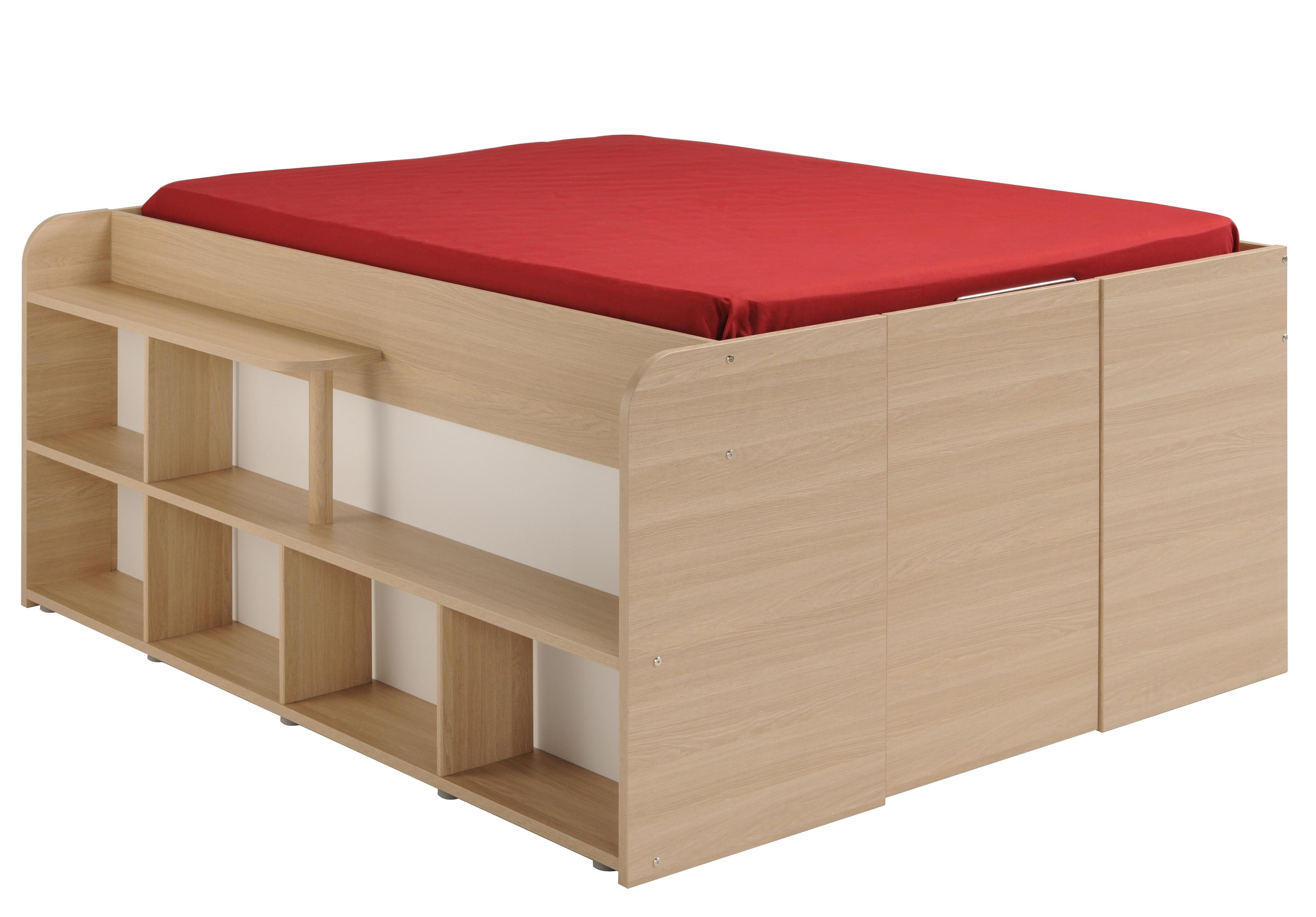 lit avec rangement blanc et ch ne top espace 140. Black Bedroom Furniture Sets. Home Design Ideas