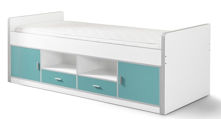 lit avec rangement turquoise et blanc kuny 90. Black Bedroom Furniture Sets. Home Design Ideas