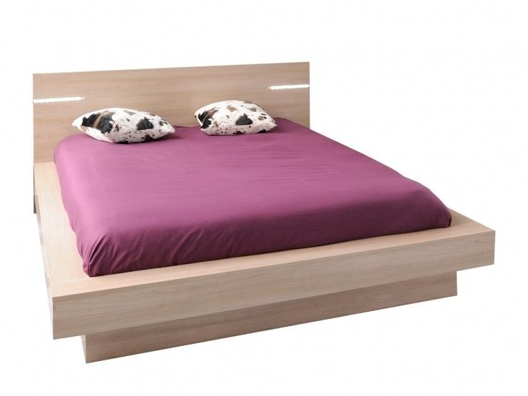 lit avec t te de lit lumineuse life couchage 140 x 200 cm. Black Bedroom Furniture Sets. Home Design Ideas