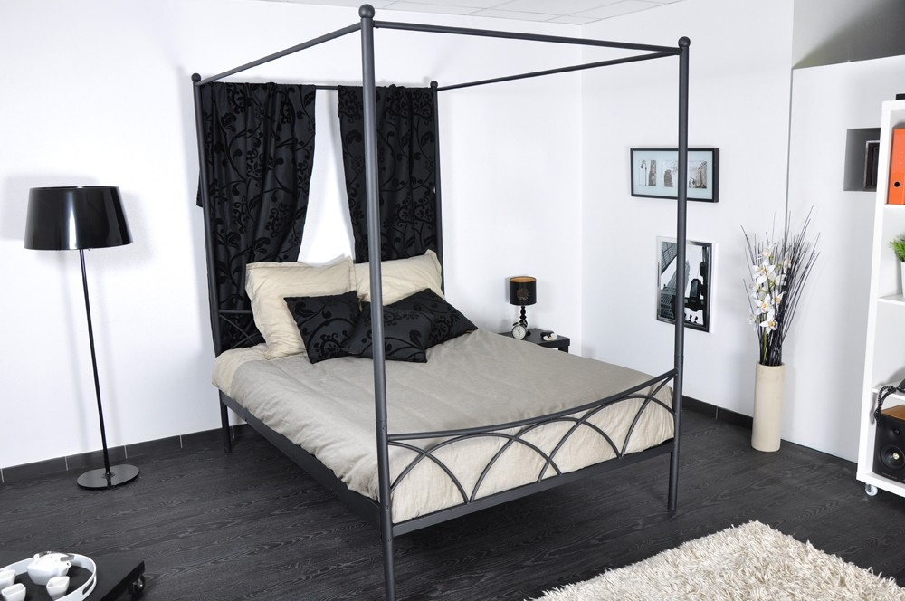 lit baldaquin metal noir 140 sweet. Black Bedroom Furniture Sets. Home Design Ideas