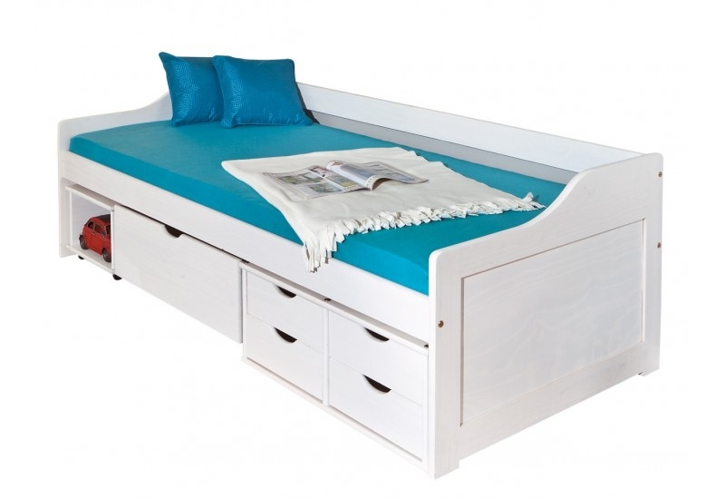 lit banquette multi fonction pin massif blanc flora 90. Black Bedroom Furniture Sets. Home Design Ideas