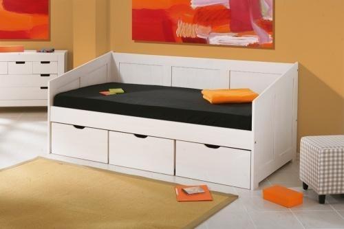 les tendances lit banquette pin massif blanc henriette. Black Bedroom Furniture Sets. Home Design Ideas