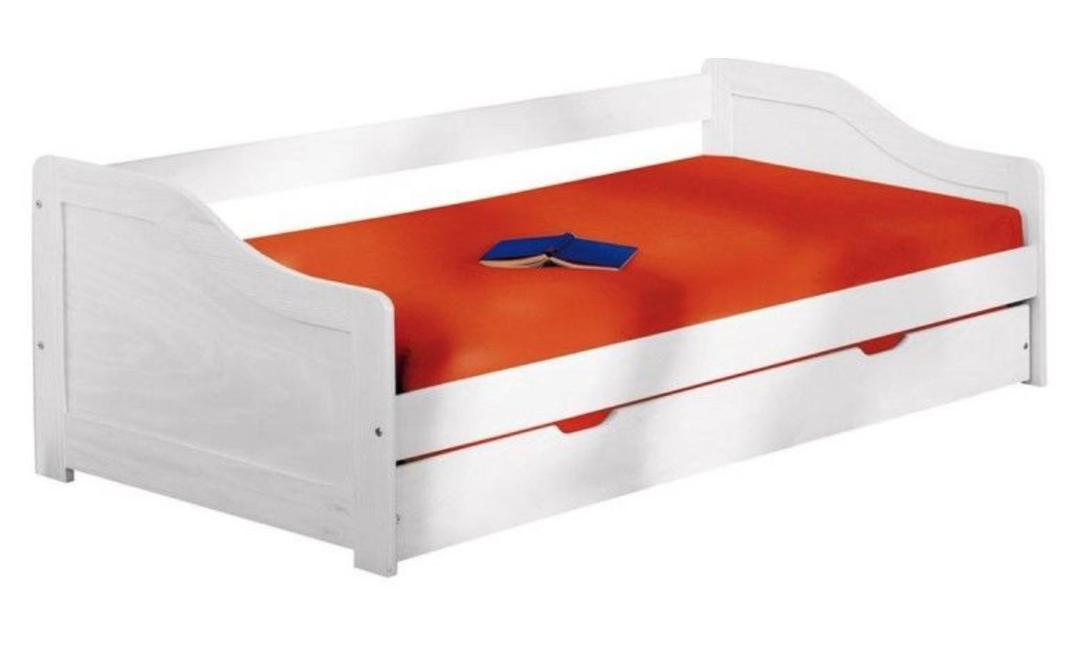 lit banquette pin massif blanc l o 90. Black Bedroom Furniture Sets. Home Design Ideas
