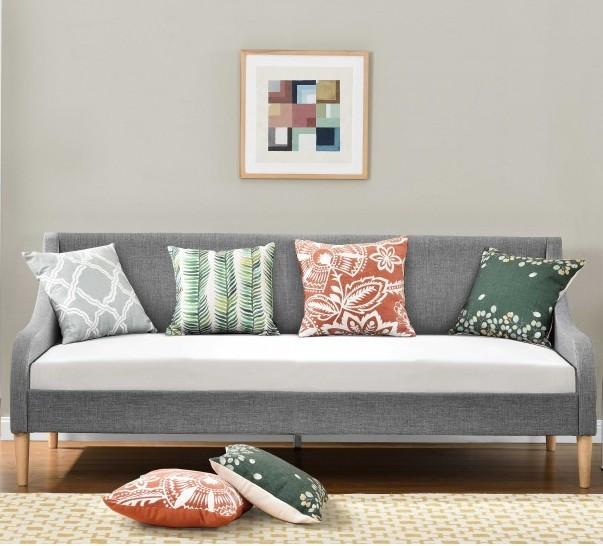 lit banquette tissu lin gris clair boni 90. Black Bedroom Furniture Sets. Home Design Ideas
