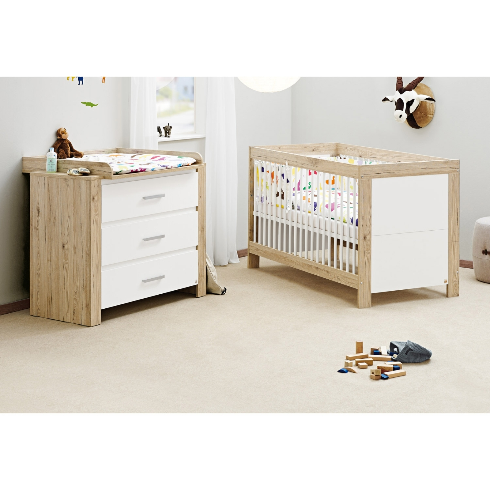 Lit b b volutif et commode langer ch ne massif naturel - Table a langer lit bebe ...