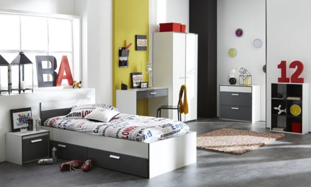 Lit Blanc et Gris à tiroirs Arthur Couchage 90 x 190 cm ...