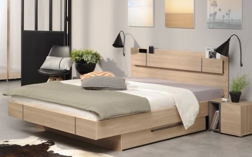 lit bois naturel avec tiroir romy 140. Black Bedroom Furniture Sets. Home Design Ideas