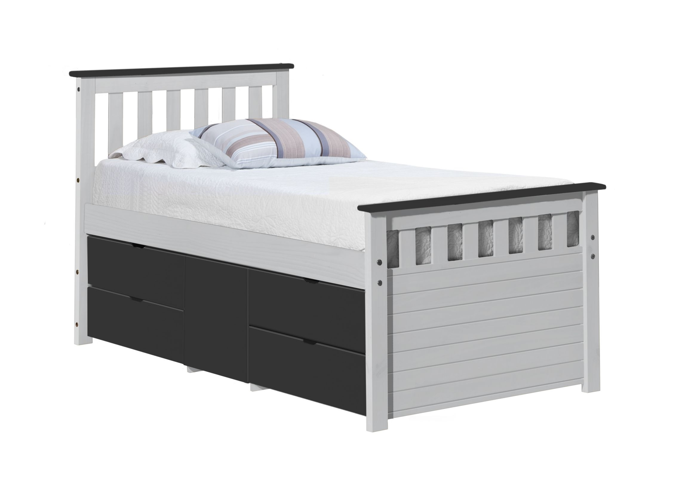 lit pin massif lasur blanc et graphite 90 x 190 cm kapta. Black Bedroom Furniture Sets. Home Design Ideas