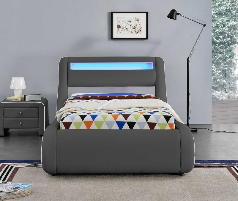 lit coffre led simili cuir gris liser blanc len 90. Black Bedroom Furniture Sets. Home Design Ideas