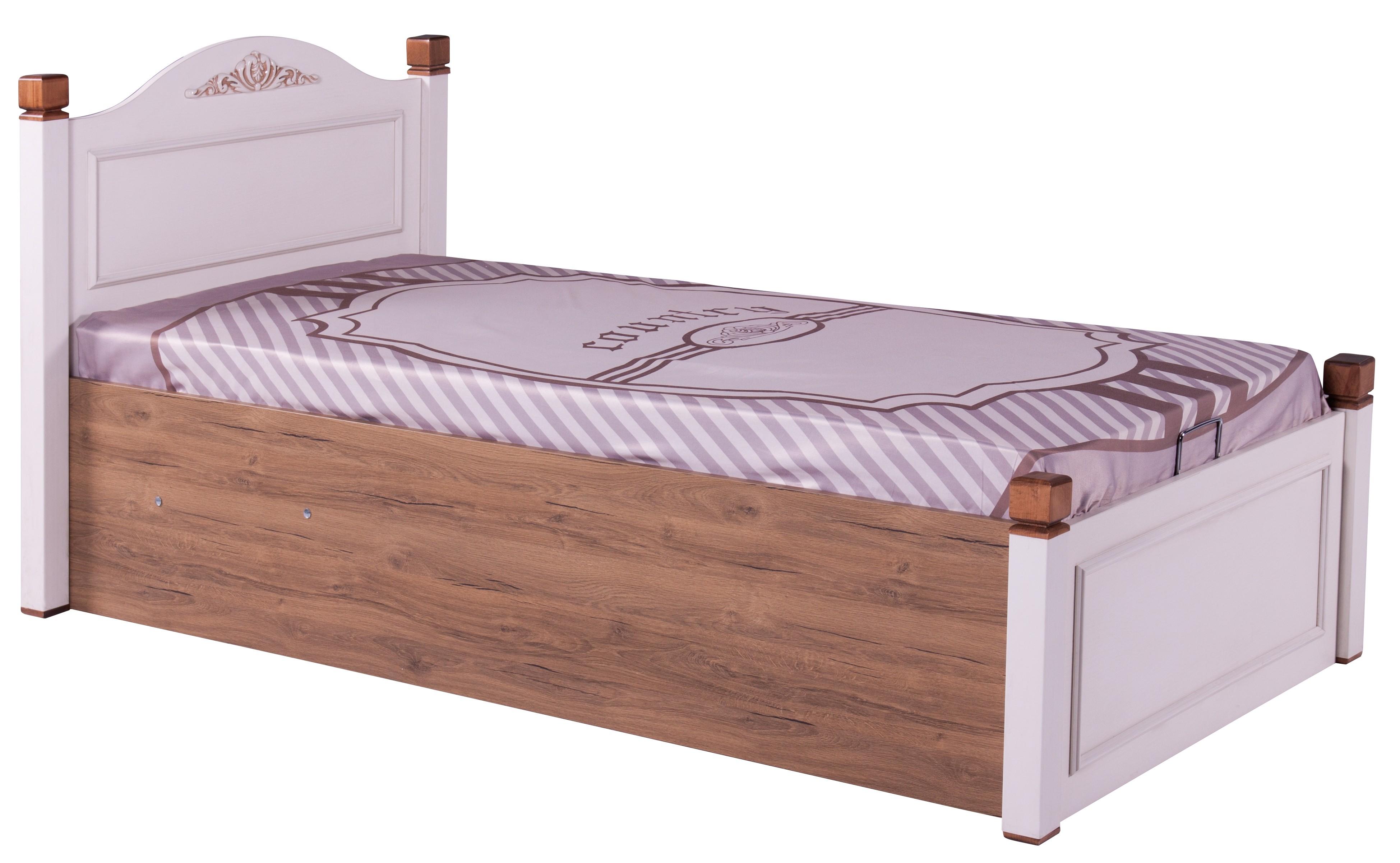 lit coffre blanc et naturel country 90. Black Bedroom Furniture Sets. Home Design Ideas