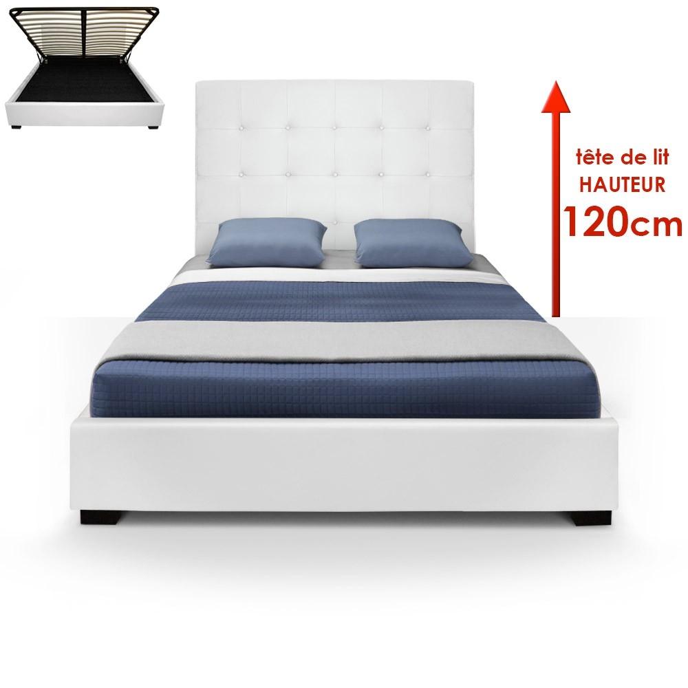 les tendances lit coffre blanc iris 140 cm. Black Bedroom Furniture Sets. Home Design Ideas