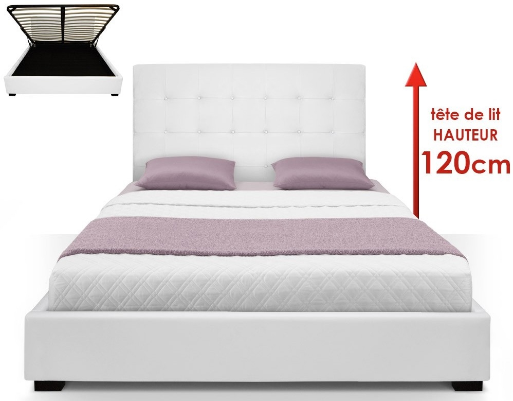 lit capitonn avec coffre simili blanc ruben 160. Black Bedroom Furniture Sets. Home Design Ideas