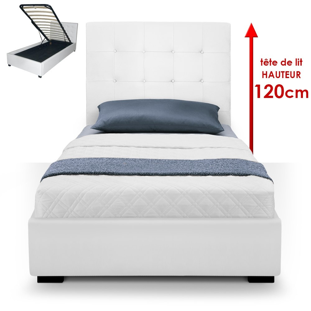lit capitonn avec coffre simili blanc ruben 90. Black Bedroom Furniture Sets. Home Design Ideas