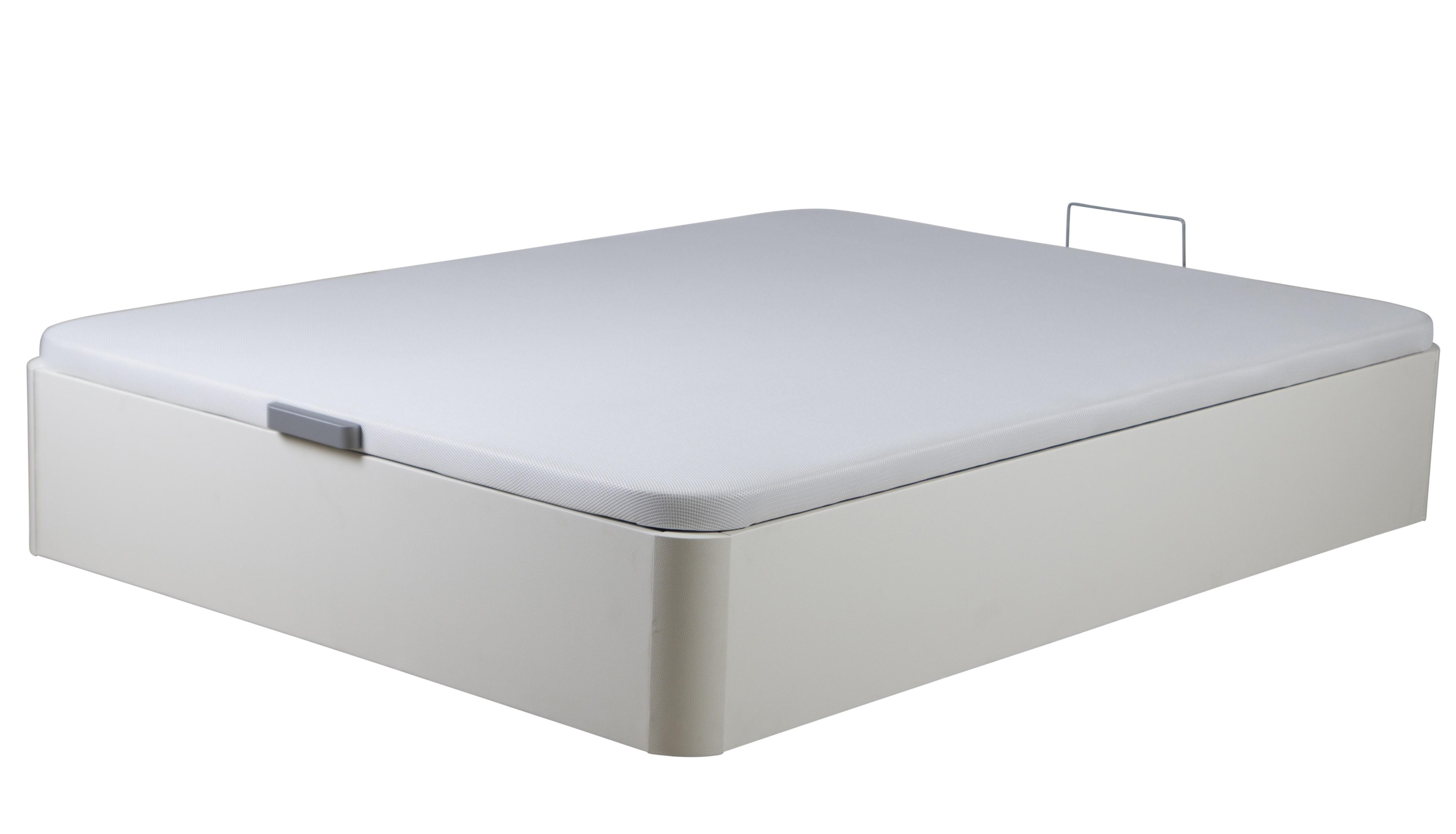 sommier lit coffre bois melamin blanc kosta 140. Black Bedroom Furniture Sets. Home Design Ideas