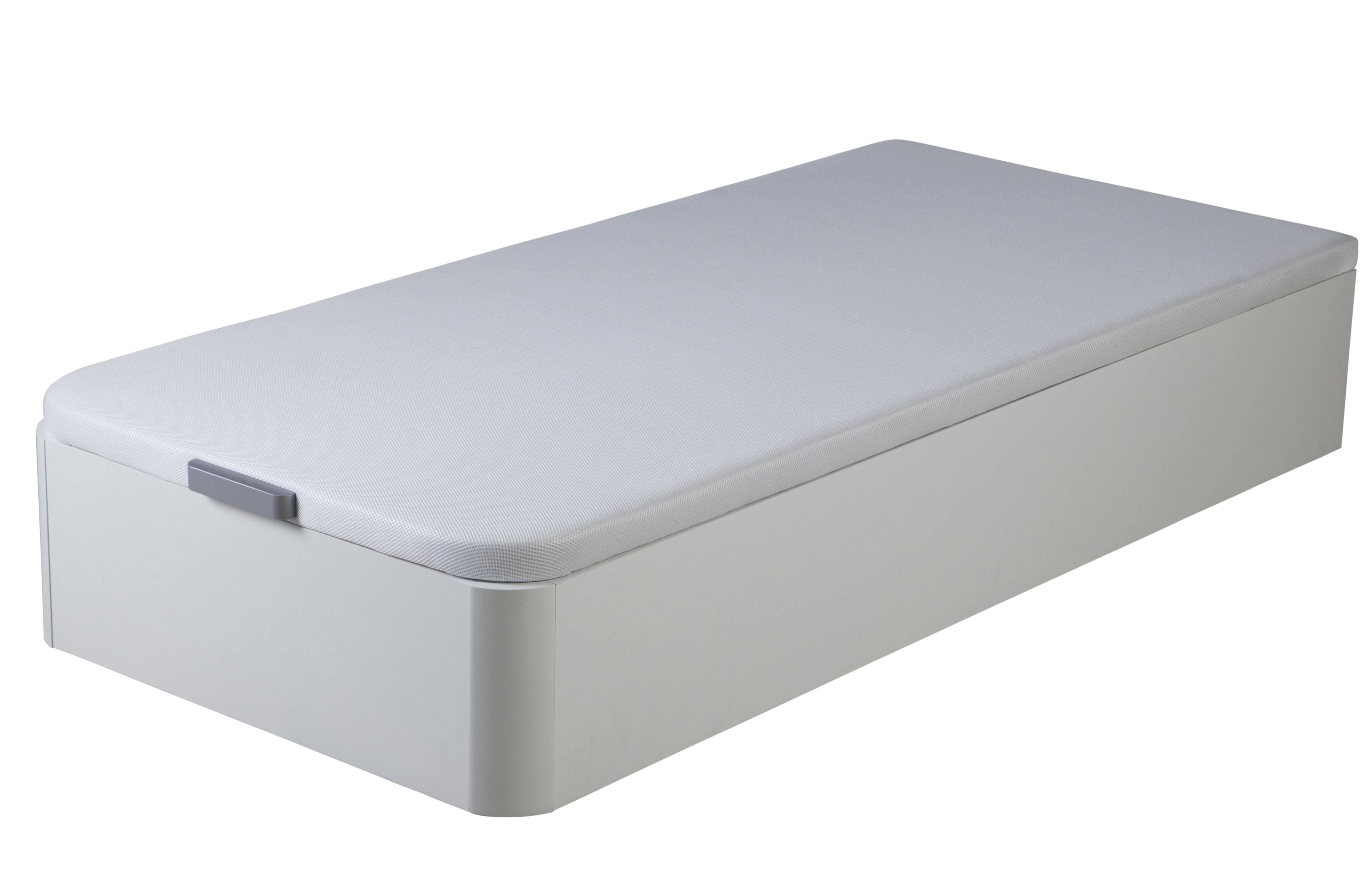 sommier lit coffre bois melamin blanc kosta 90. Black Bedroom Furniture Sets. Home Design Ideas