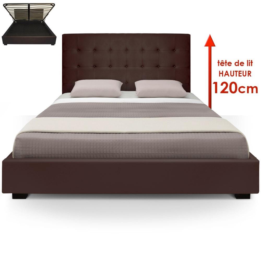 lit coffre marron iris 180 cm. Black Bedroom Furniture Sets. Home Design Ideas