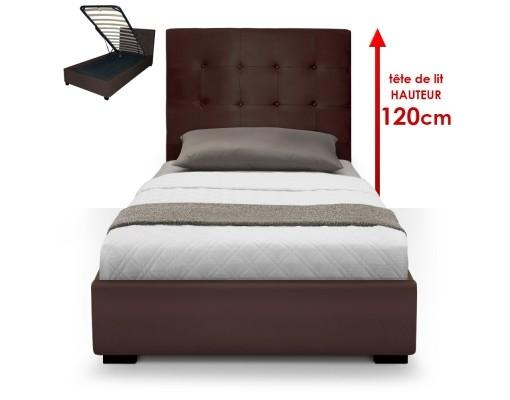 lit coffre marron iris 90 cm. Black Bedroom Furniture Sets. Home Design Ideas