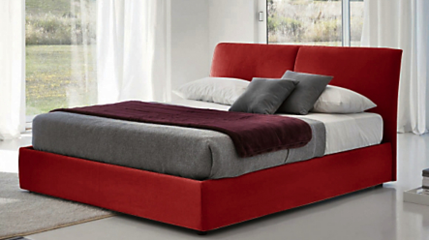 lit coffre microfibre rouge loon couchage 82 5 x 200 cm. Black Bedroom Furniture Sets. Home Design Ideas