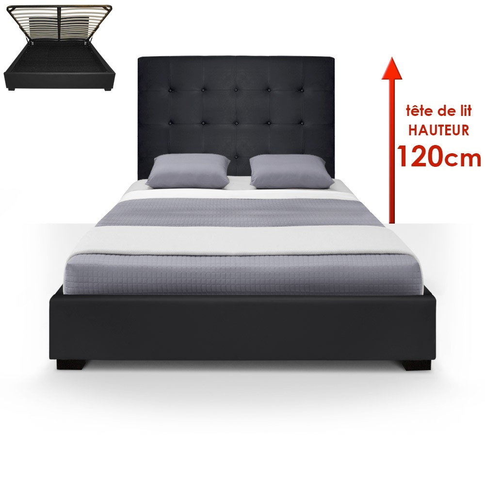 lit coffre noir iris 140 cm. Black Bedroom Furniture Sets. Home Design Ideas