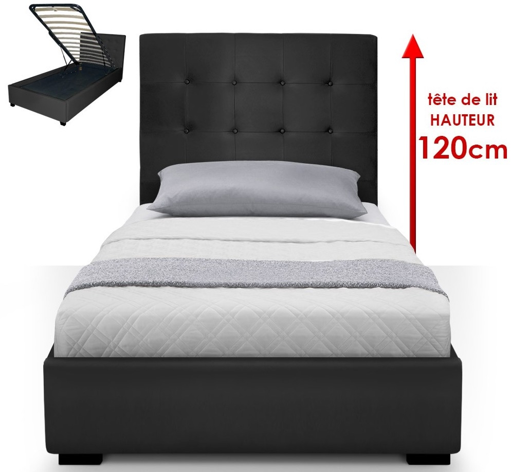 lit capitonn avec coffre simili noir ruben 90. Black Bedroom Furniture Sets. Home Design Ideas