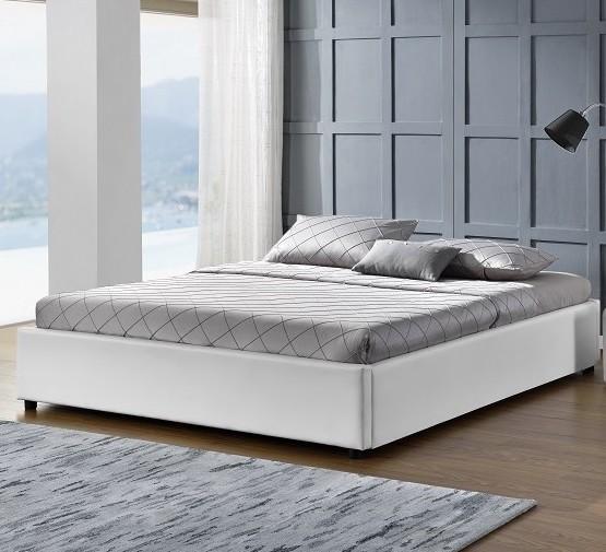 cadre de lit avec coffre simili cuir blanc pola 140. Black Bedroom Furniture Sets. Home Design Ideas