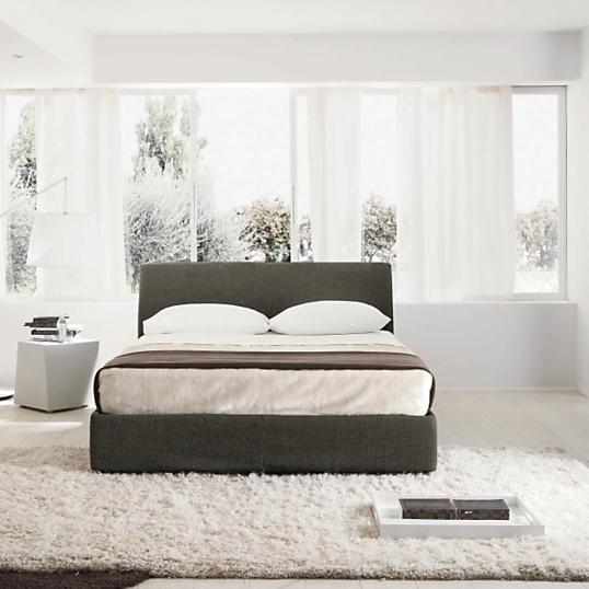lit coffre tissu gris key. Black Bedroom Furniture Sets. Home Design Ideas
