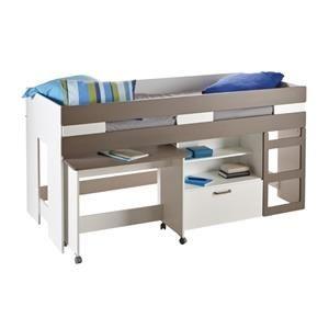 les tendances lit combin blanc et basalte sacha. Black Bedroom Furniture Sets. Home Design Ideas