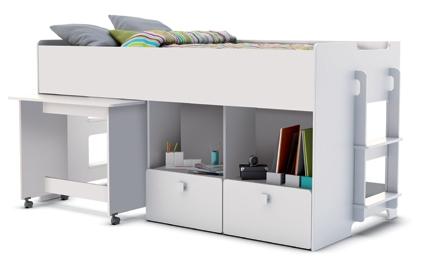 lit combin blanc game. Black Bedroom Furniture Sets. Home Design Ideas