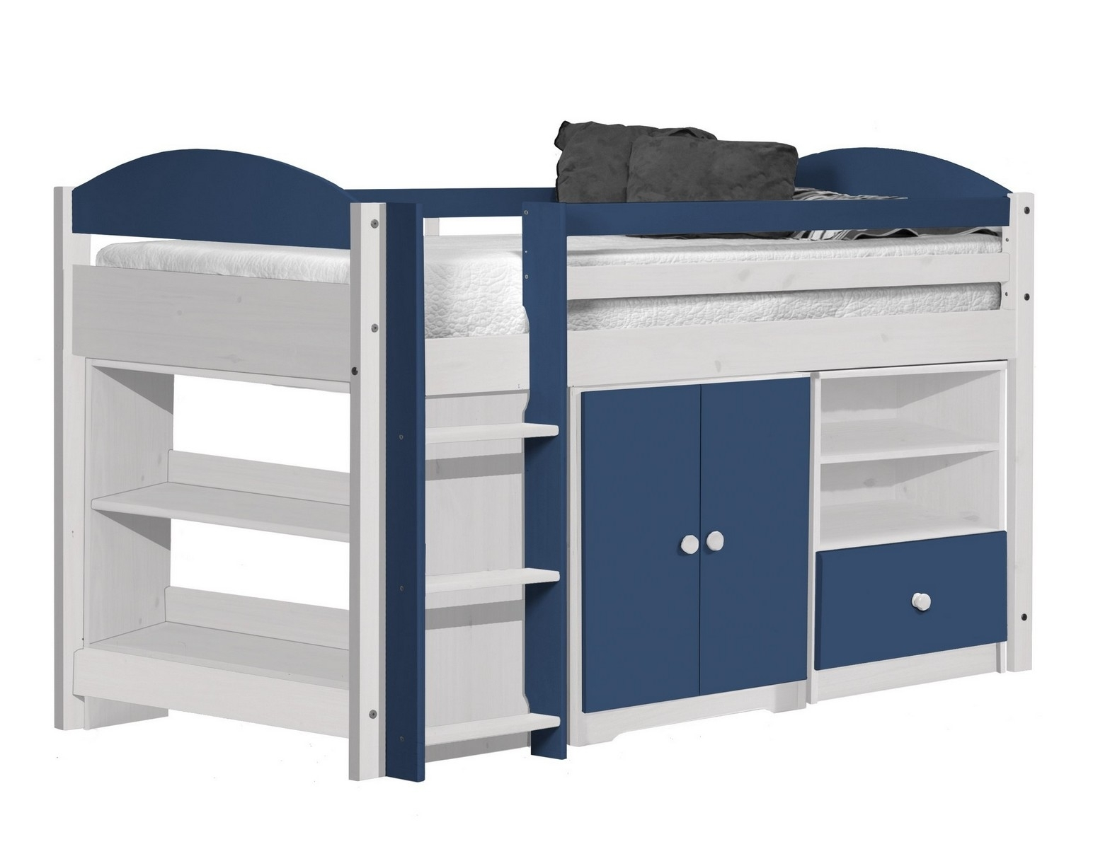 lit combin mi haut bois blanc et bleu aladin. Black Bedroom Furniture Sets. Home Design Ideas
