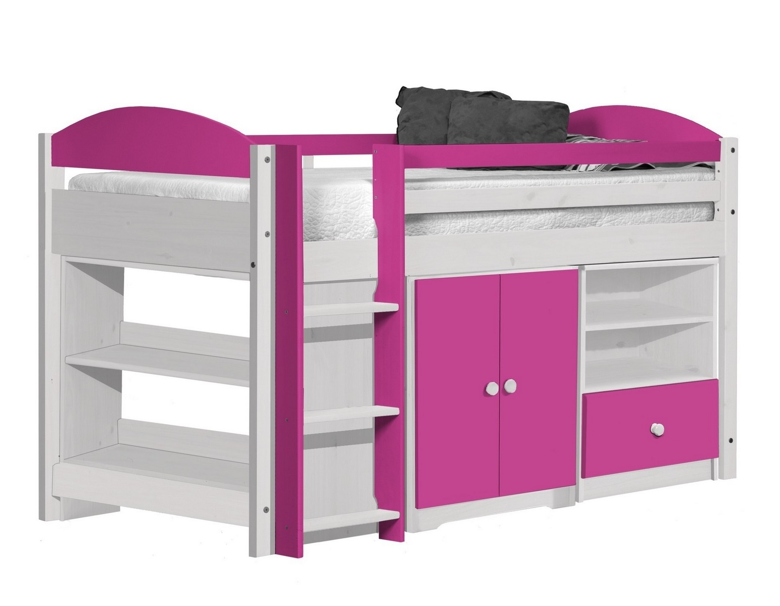 lit combin mi haut bois blanc et fuchsia aladin. Black Bedroom Furniture Sets. Home Design Ideas