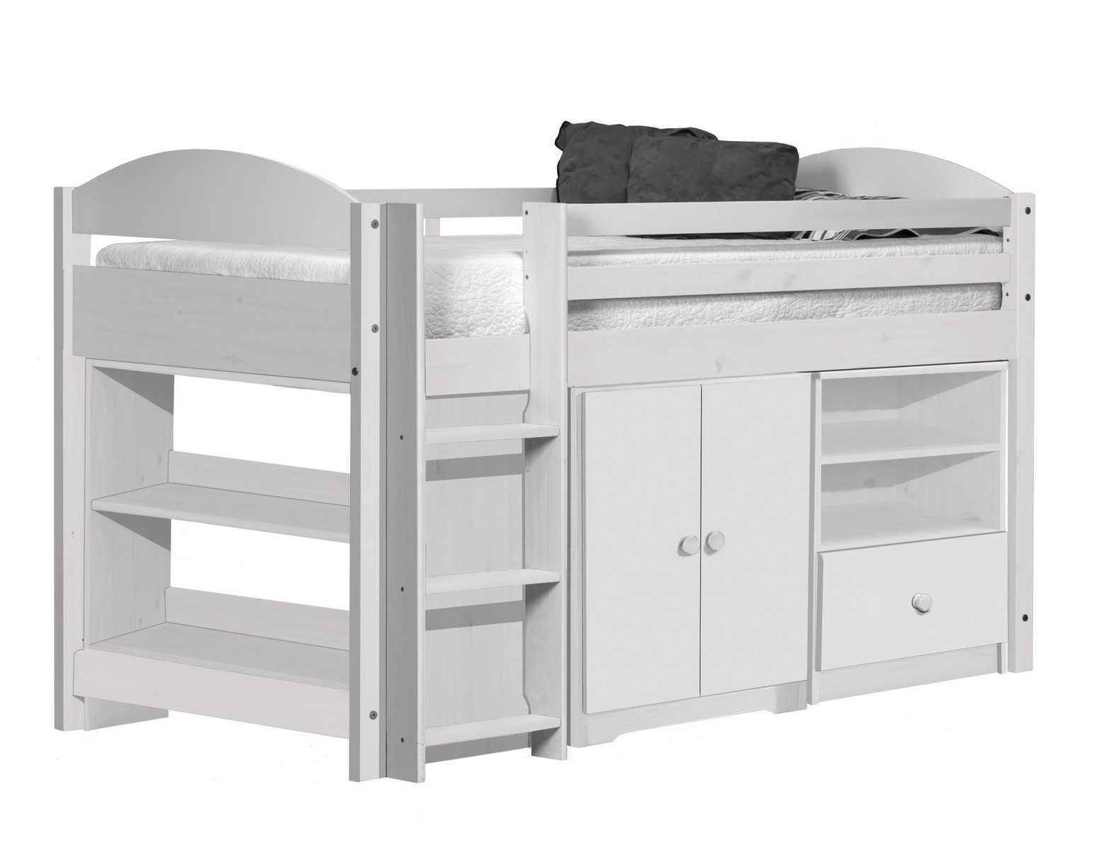 lit combin mi haut bois blanc aladin. Black Bedroom Furniture Sets. Home Design Ideas