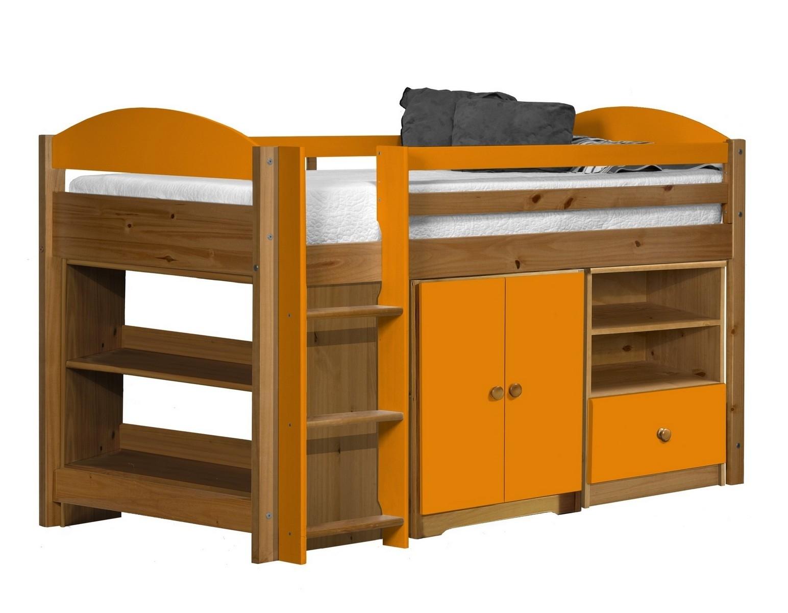 Lit combin mi haut bois et orange aladin - Lit mi hauteur bois massif ...