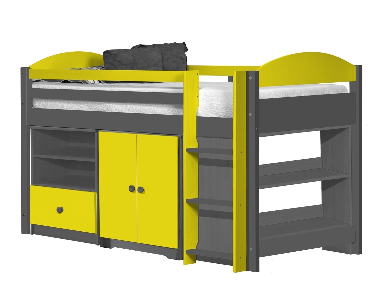 lit combin mi haut graphite et jaune aladin. Black Bedroom Furniture Sets. Home Design Ideas