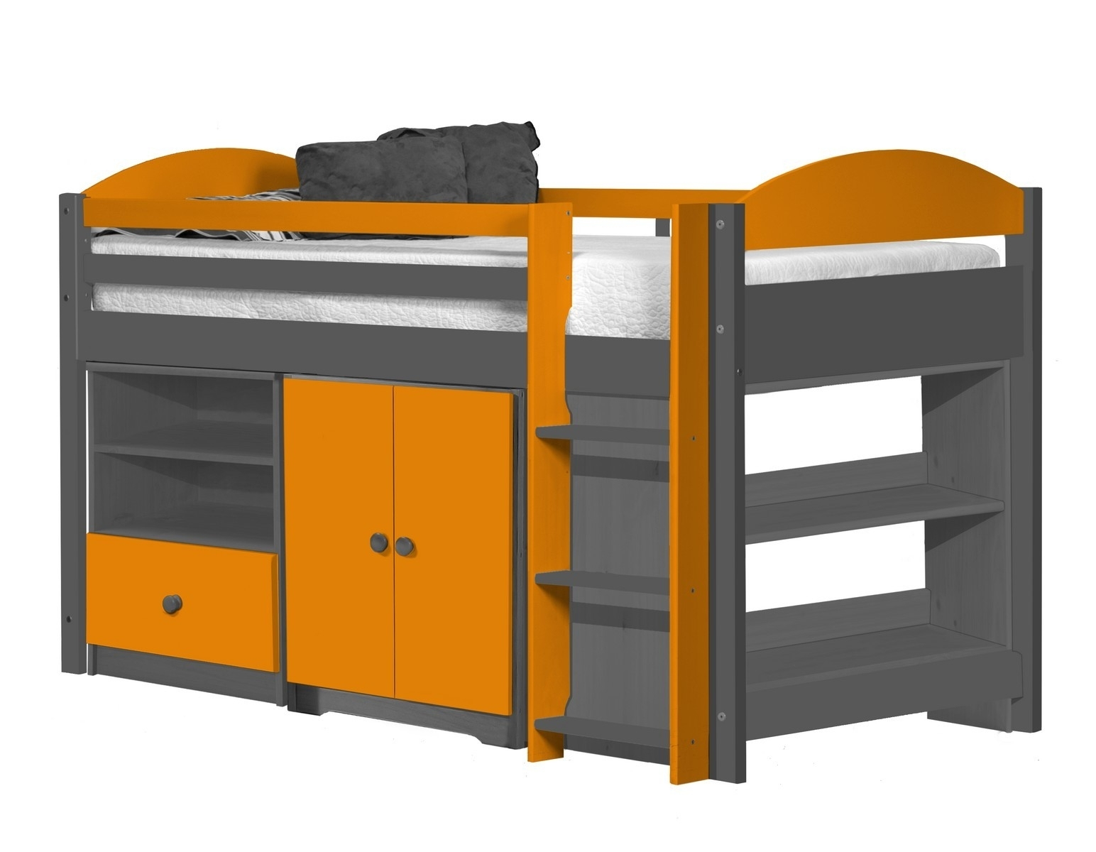 lit combin mi haut graphite et orange aladin. Black Bedroom Furniture Sets. Home Design Ideas