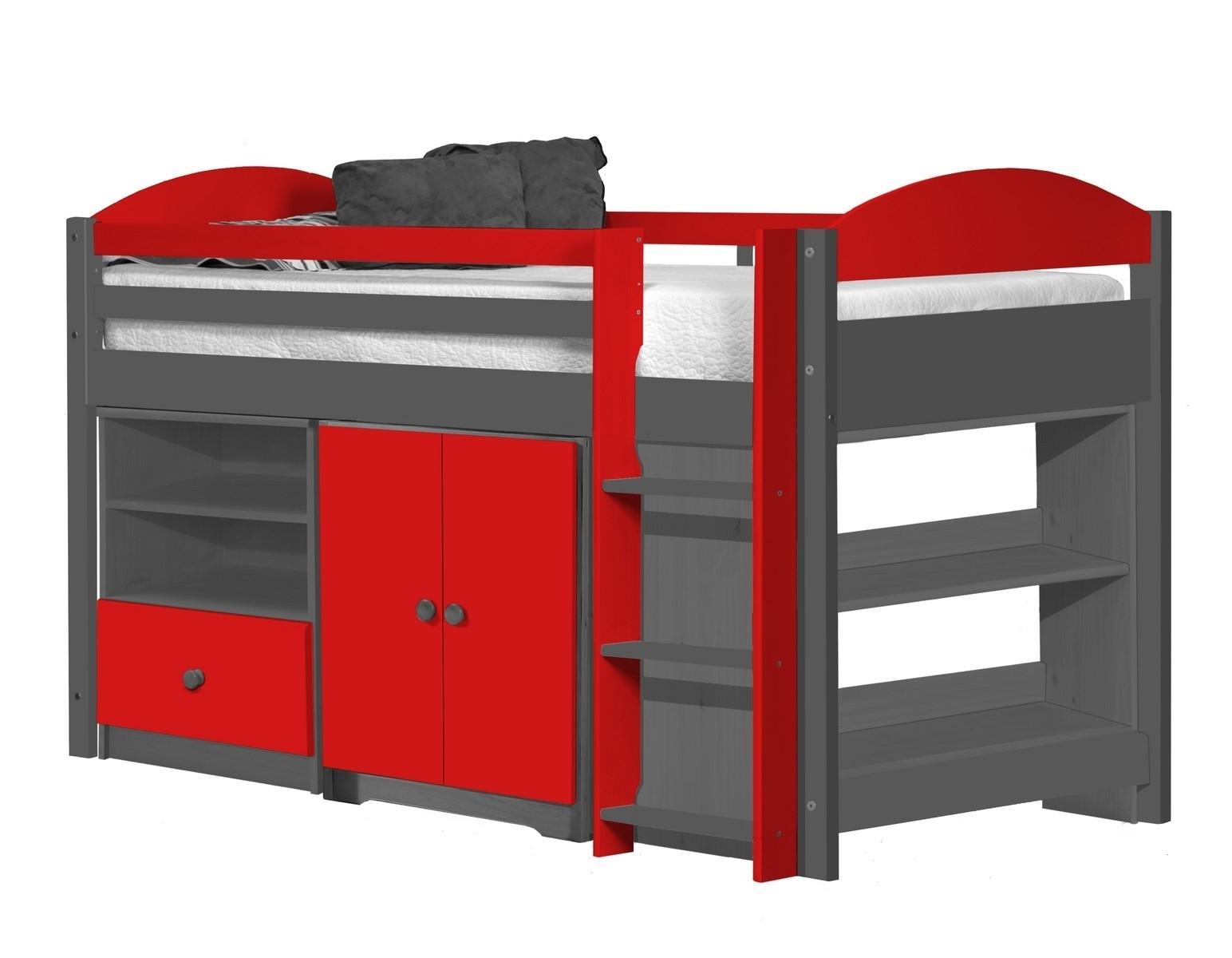 lit combin mi haut graphite et rouge aladin. Black Bedroom Furniture Sets. Home Design Ideas