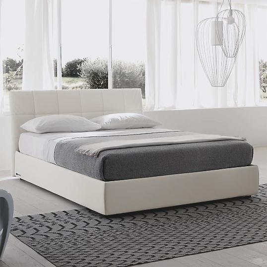 lit cuir blanc avec coffre milan