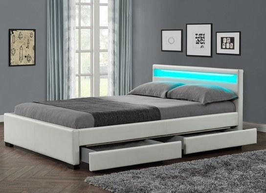 les tendances lit design blanc led sona 160. Black Bedroom Furniture Sets. Home Design Ideas